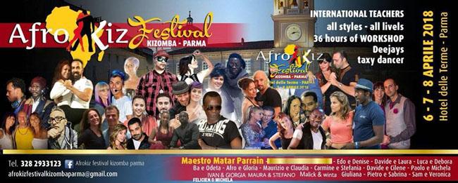 Afrokiz festival kizomba Parma dal 6 all'8 aprile 2018